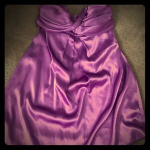 Purple satin strapless dress